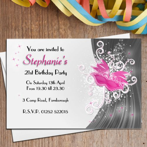10 Personalised Pink Masquerade Birthday Party Invitations N129